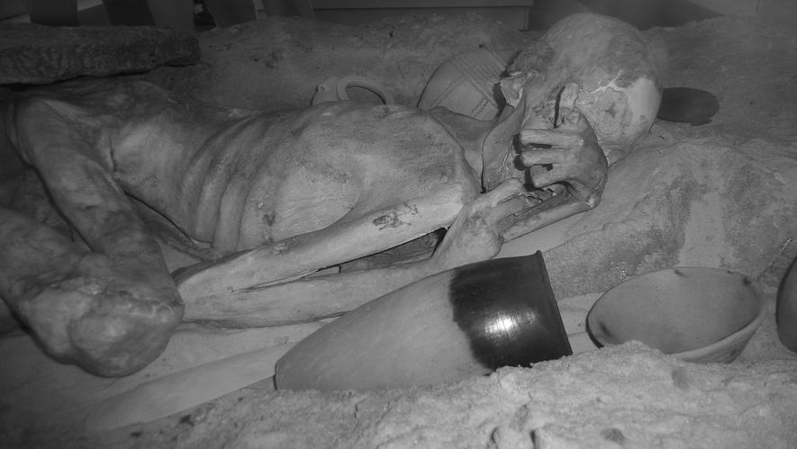 Infrared image of the male mummy known as Gebelein Man)