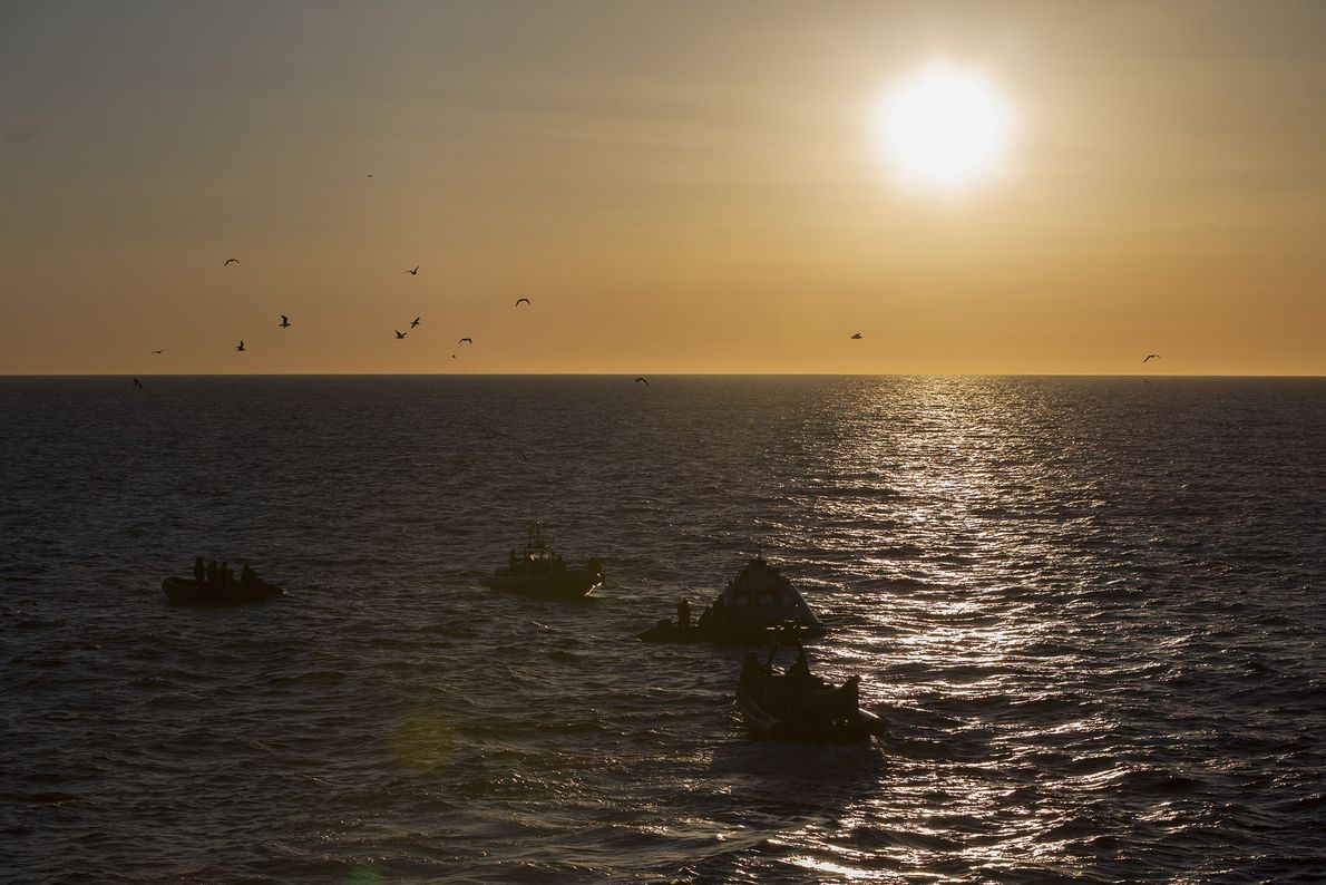 The recovery tests, conducted off the California coast, are designed to simulate what happens when an ...