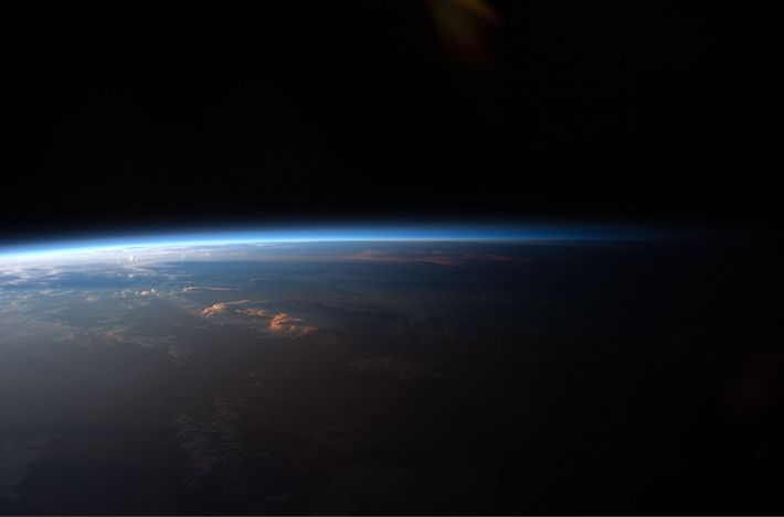 The sun sets over South America, as seen by astronauts on board the International Space Station.