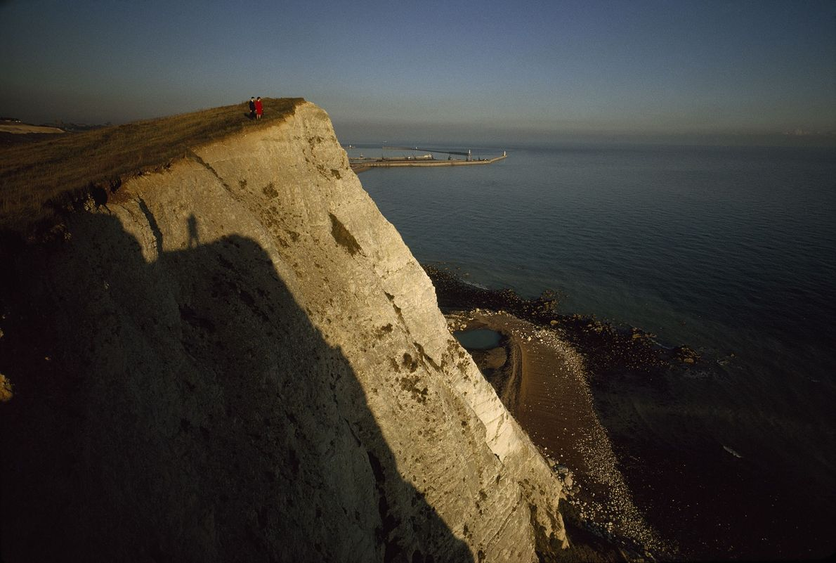 The iconic white cliffs of Dover are made of chalk, a graveyard made of coccoliths—the calcite ...