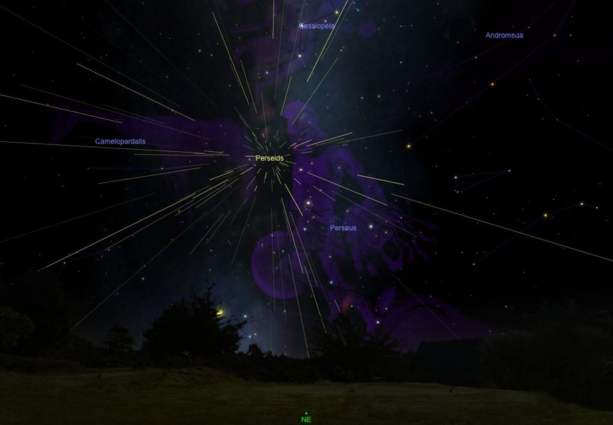 Perseid meteors seem to radiate from their namesake constellation, as seen in an illustration.