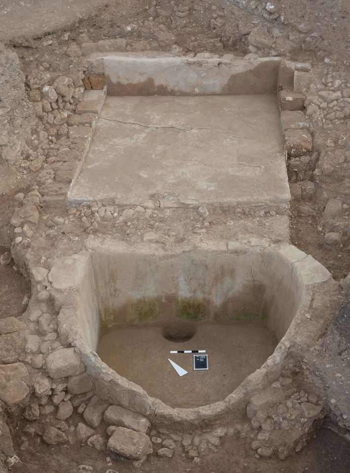 The wine press at Tell el-Burak. While Phoenicians spread wine culture across the ancient Mediterranean world, ...