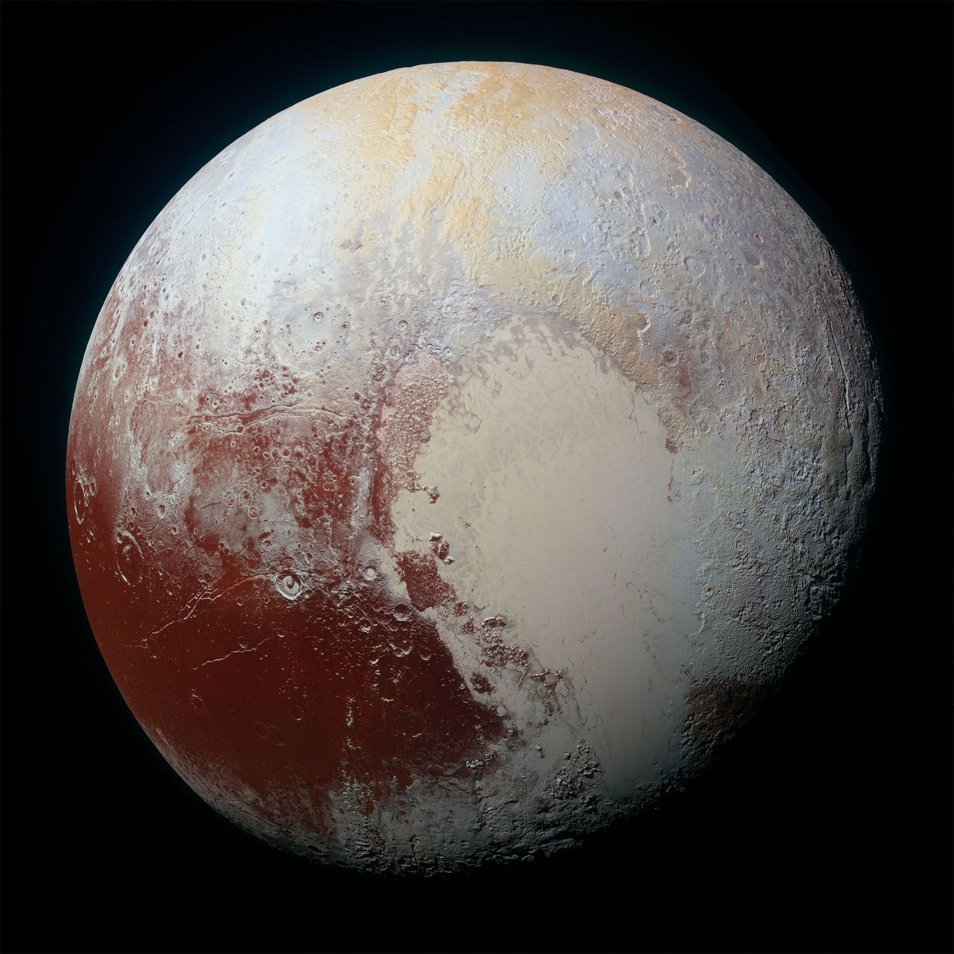 NASA's New Horizons spacecraft captured this high-resolution, enhanced-colour view of Pluto on July 14, 2015.