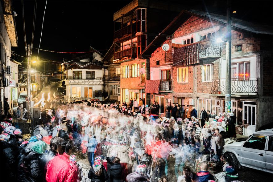In Ribnovo, a wedding party does the traditional houra dance for Salve Kgiselova and her groom, ...