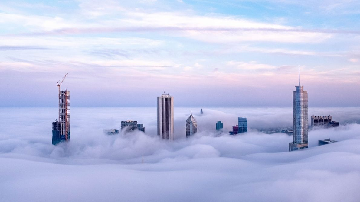 """""""Convective fog happens a lot during summer in Chicago,"""" writes Your Shot photographer Jiajing Chen. """"In ..."""