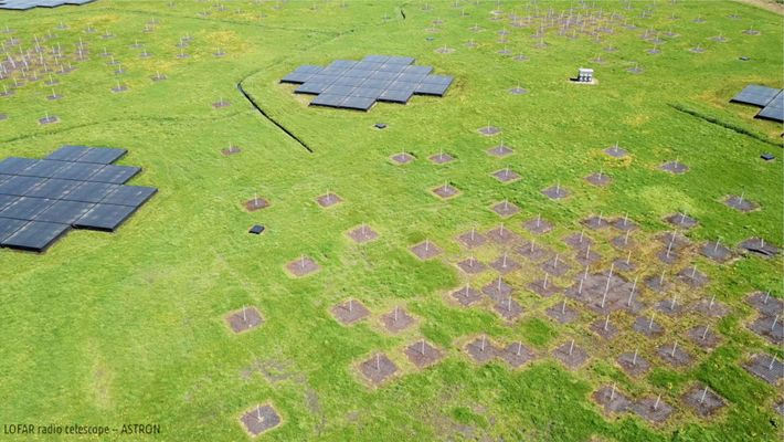 An aerial view shows one of the many antenna stations in the Low-Frequency Array, or LOFAR, ...