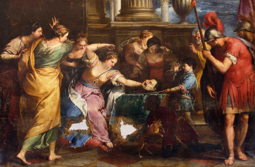 """""""The Rage of Fulvia,"""" a 1692 painting by Gregorio Lazzarini, depicts Fulvia with Cicero's severed head. Old Masters Picture Gallery, Kassel, Germany"""