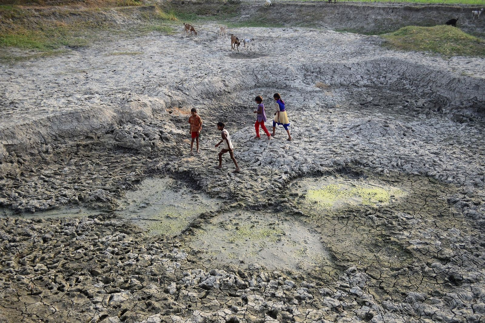 Indian children play on a parched area of the shrunken Varuna River, a tributary of the ...