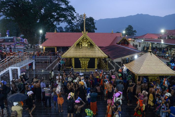Devotees gather at the Sabarimala temple dedicated to Lord Ayyappa, a Hindu deity celebrated for his ...