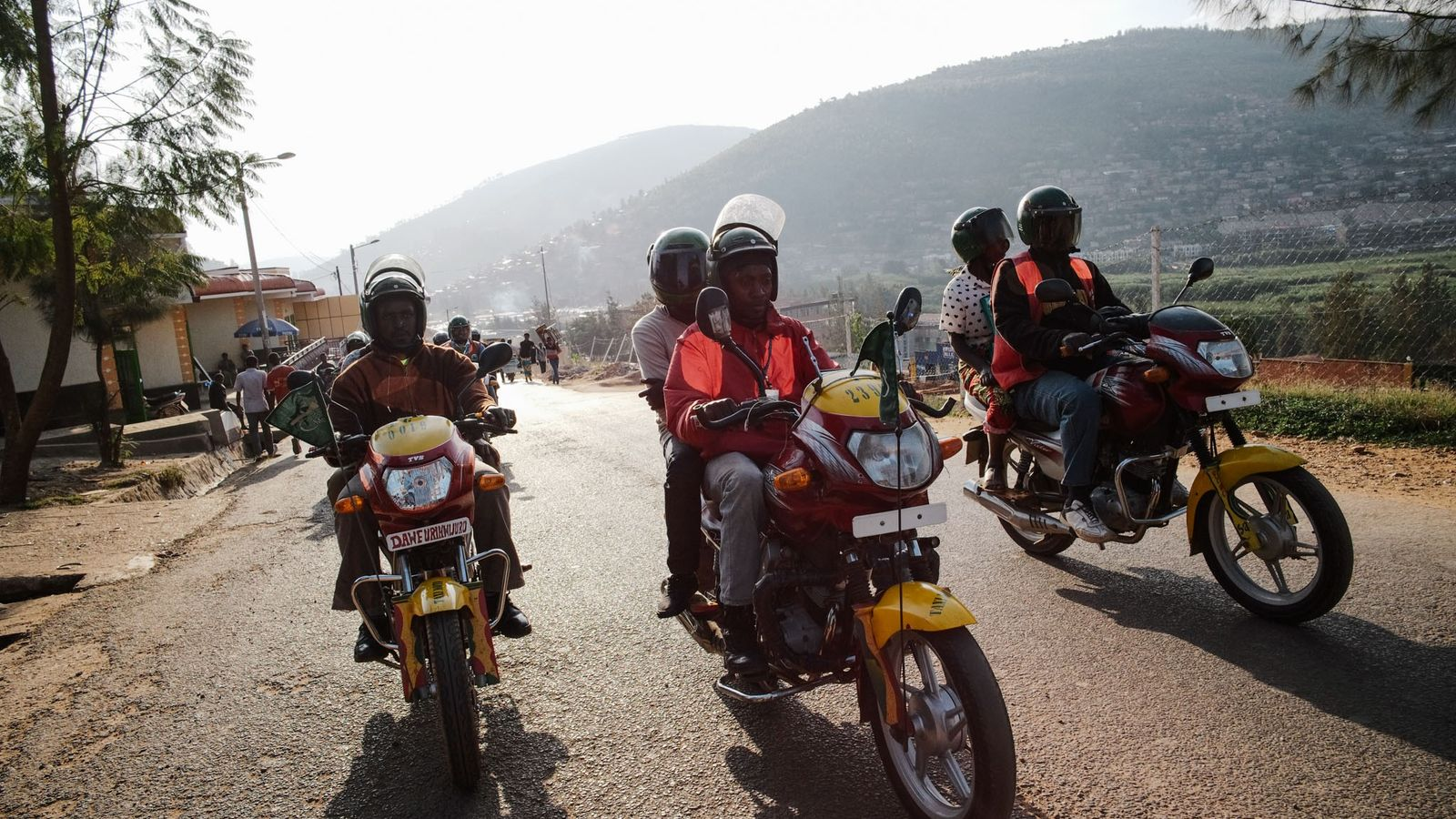 SafeMoto drivers around Kigali in March 2017.