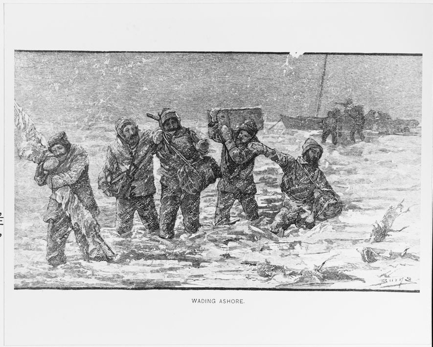 This woodcut depicts Lieutenant Commander George DeLong and his party wading ashore from the USS Jeannette in 1881. Their ship sank after being trapped in ice for two years.