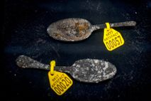 Pewter spoons found during excavation works on the Rooswijk which sank off the Kent coast in ...