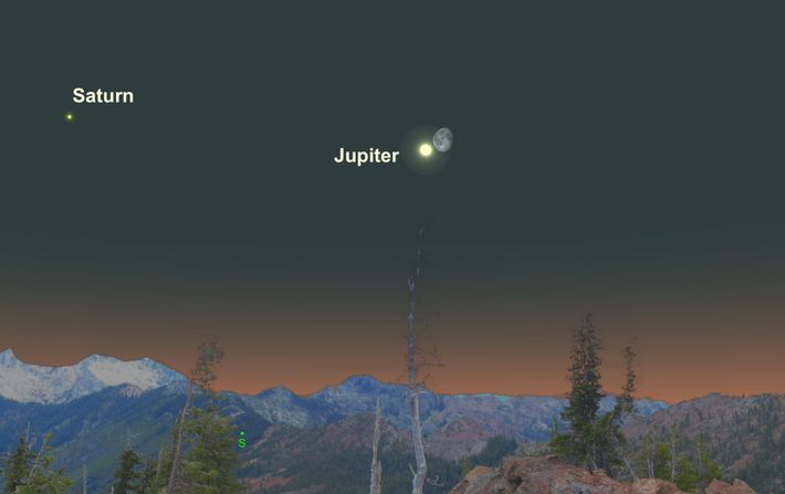 Brilliant Jupiter will be especially close to the waning gibbous moon on April 23.