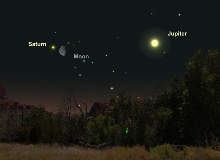 Creamy-colored Saturn will be near the moon on April 25.