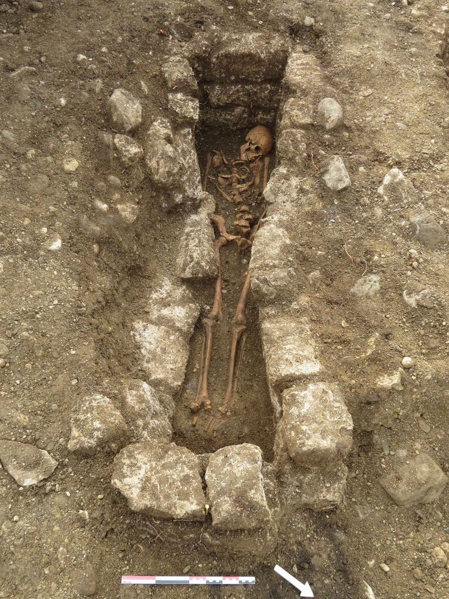 Adelasius was buried in a grave lined with rocks, which may indicate he was of high social status.