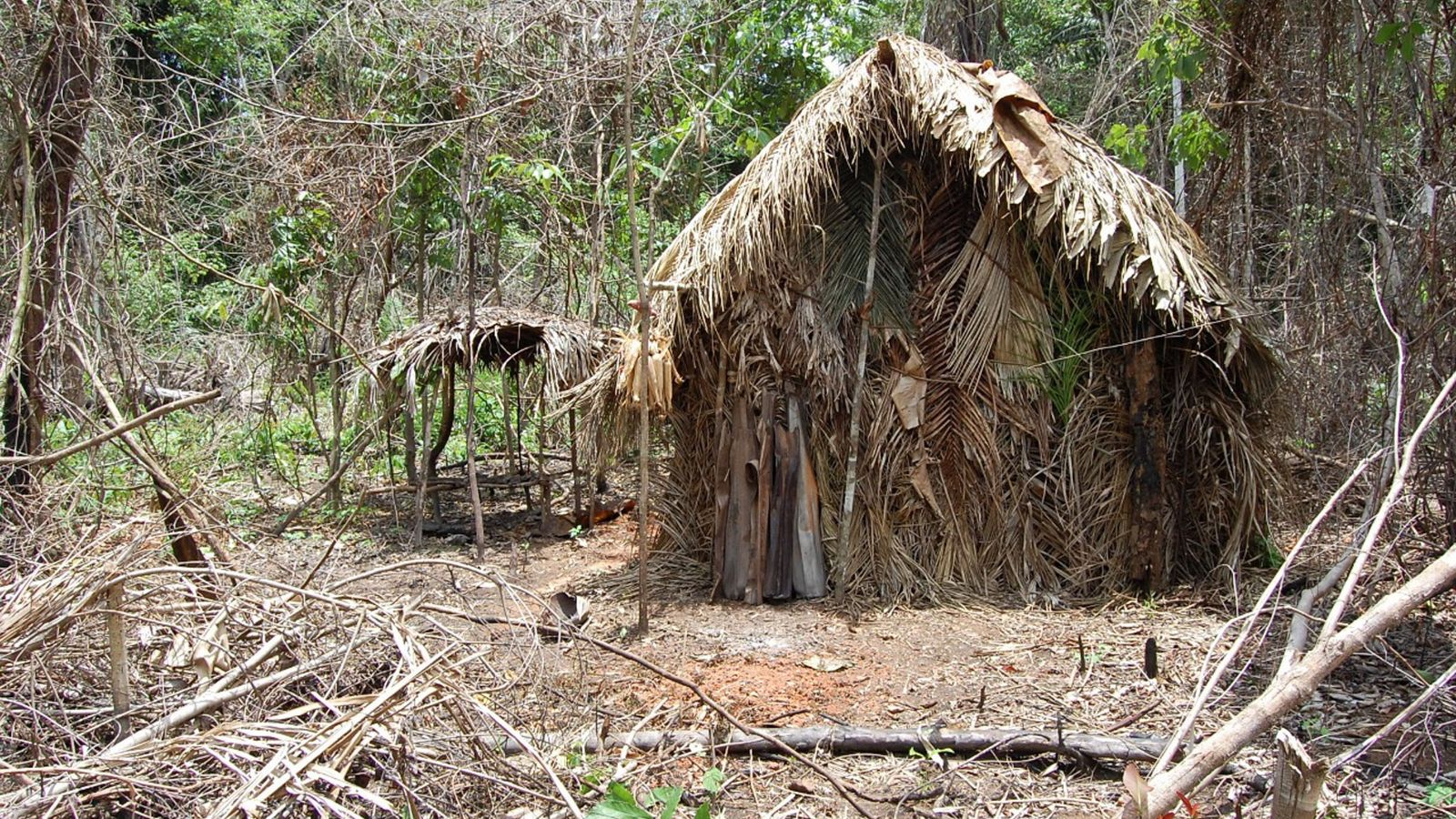 One of the huts the lone survivor builds for himself.