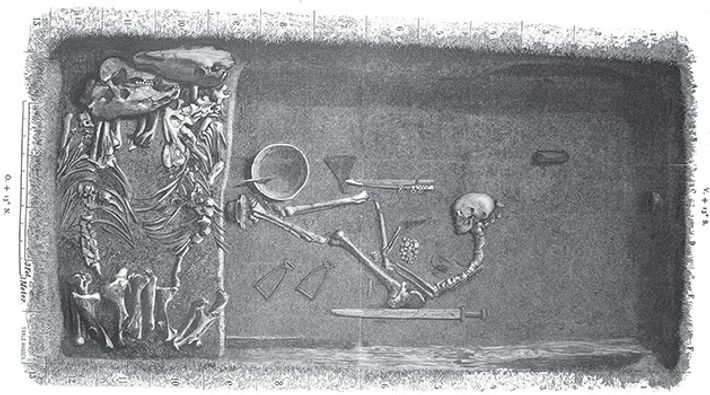 Illustration by Evald Hansen based on the original plan of the grave by excavator Hjalmar Stolpe, ...