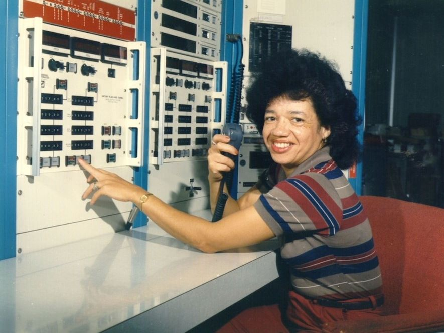 Christine Darden works in the control room of a Langley wind tunnel in 1975.