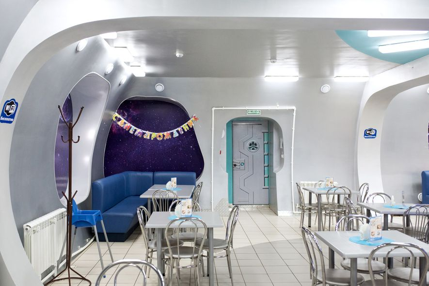 Though it caters to mere Earthlings, a local cafe looks a bit like the interior of ...