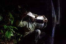 A researcher on Uganda's Mount Morungole examines a bat for signs of malaria, Zika, and other ...