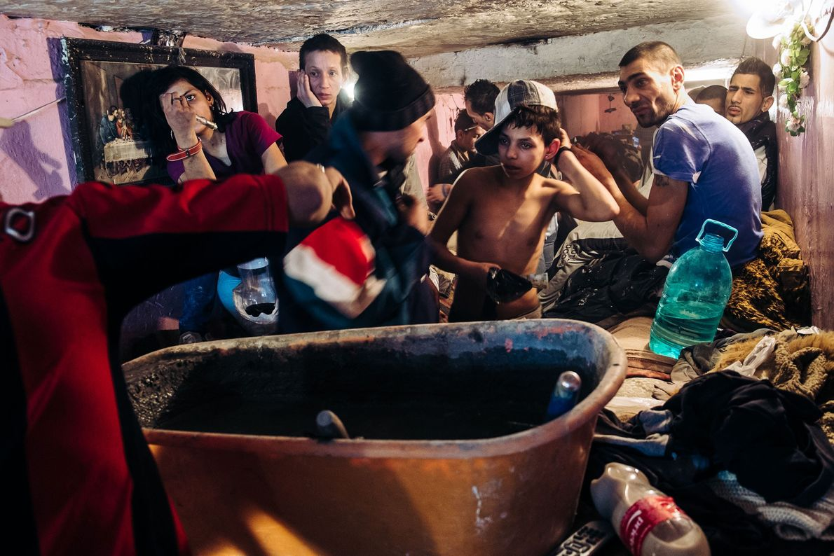 During winter, up to 40 people occupy the tunnel to stay warm, living together in a ...