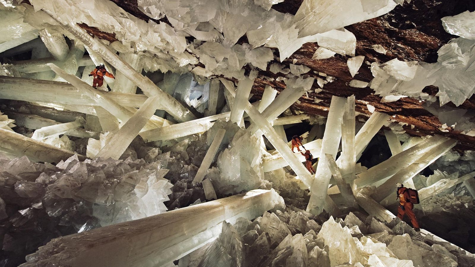 Roughly 300 metres (1,000 feet) beneath Earth's surface, gargantuan selenite crystals stud a hot, humid, normally ...
