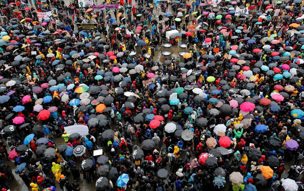 Strike participants gather in Zurich, Switzerland.