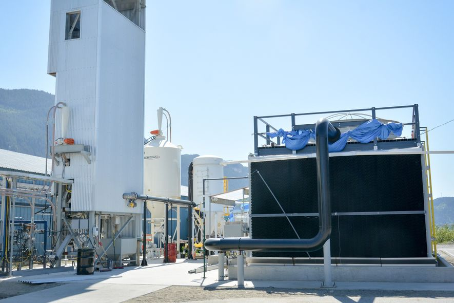 Carbon Engineering's equipment pulls carbon dioxide out of the atmosphere at a test plant in British ...