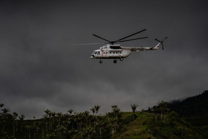 A UN helicopter lifts off from a camp that was previously used by FARC rebels, some ...