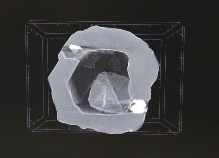 This x-ray image of a diamond duo shows one tiny gem nestled within an empty cavity ...