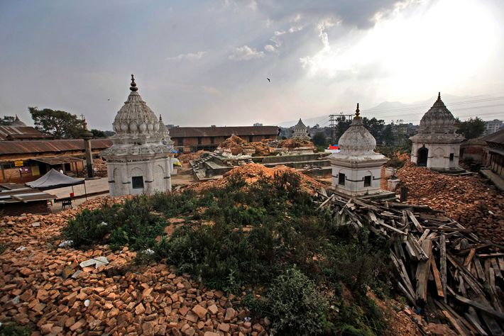 Rubble surrounds one of the oldest temple complexes after the devastating 2015 earthquake in Kathmandu, Nepal. ...