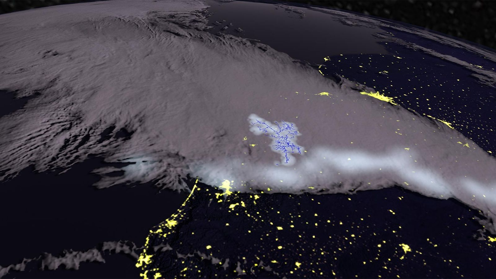 A thunderstorm looms over southern Brazil and Uruguay in this computer-rendered view. The lightning in this ...