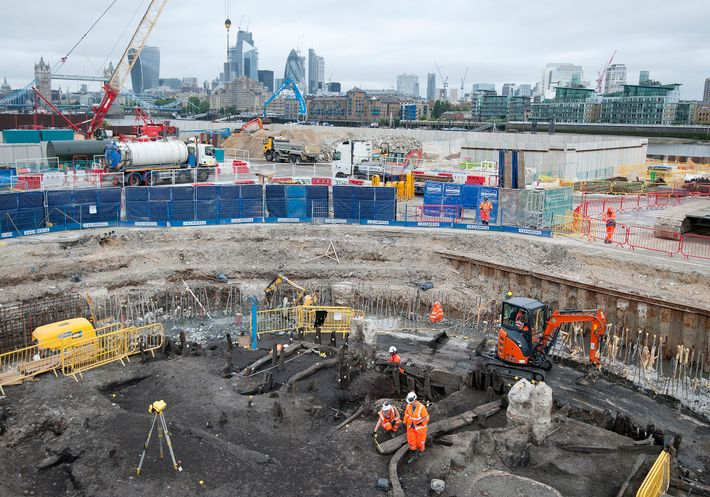 Archaeologists and specialists from the Museum of London Archaeology recover a 500-year-old skeleton during excavations for ...