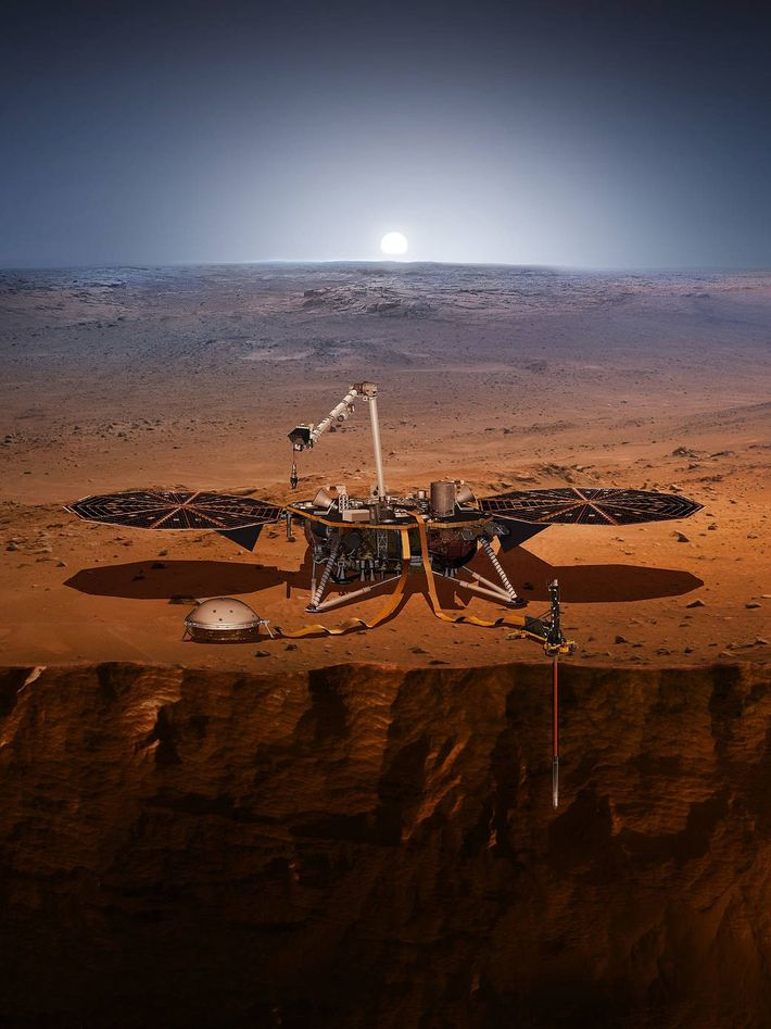 The InSight lander sits on Mars's surface in an illustration, which shows both its seismometer and ...