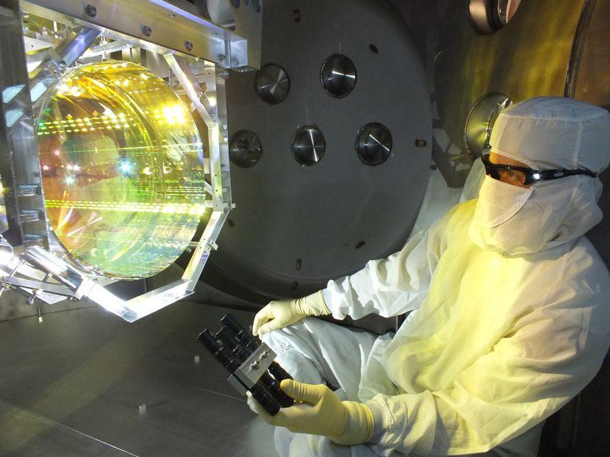 The LIGO detectors use lasers and precisely aligned mirrors to detect the minuscule movements caused by ...