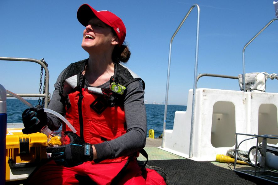 Grace Saba of Rutgers takes water samples to better understand the changing ocean.