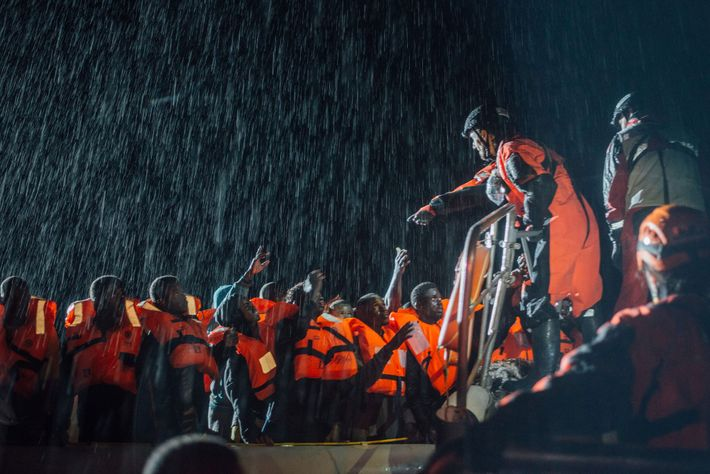 As the waves climb higher and rain grows stronger, Nicola Stalla, deputy rescue coordinator, takes control ...