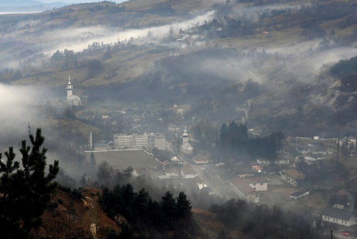 A view of the town center of Roșia Montană, Romania on Nov. 23, 2006. Romania initially ...