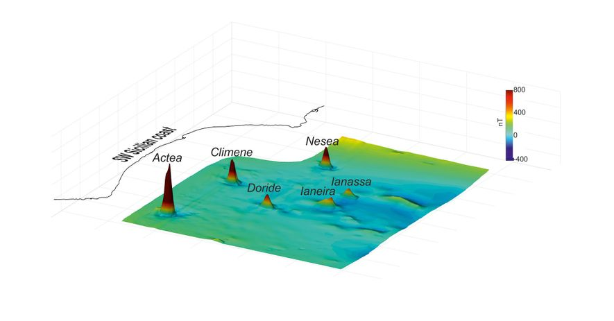 This 3D map reveals the seafloor magnetic anomalies in the Sicilian Channel. Each peak corresponds to ...