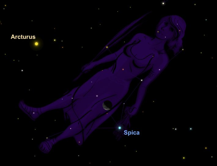 The moon will glide through the constellation Virgo, the maiden, on December 30.