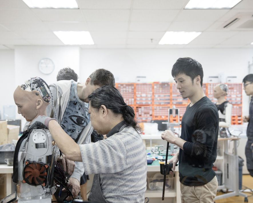 Engineers work in the Hanson Robotics lab in Hong Kong, which is often referred to as ...