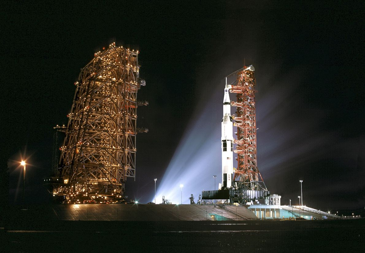In preparation for the launch of Apollo 12 from Cape Canaveral, Florida, the support structures for ...