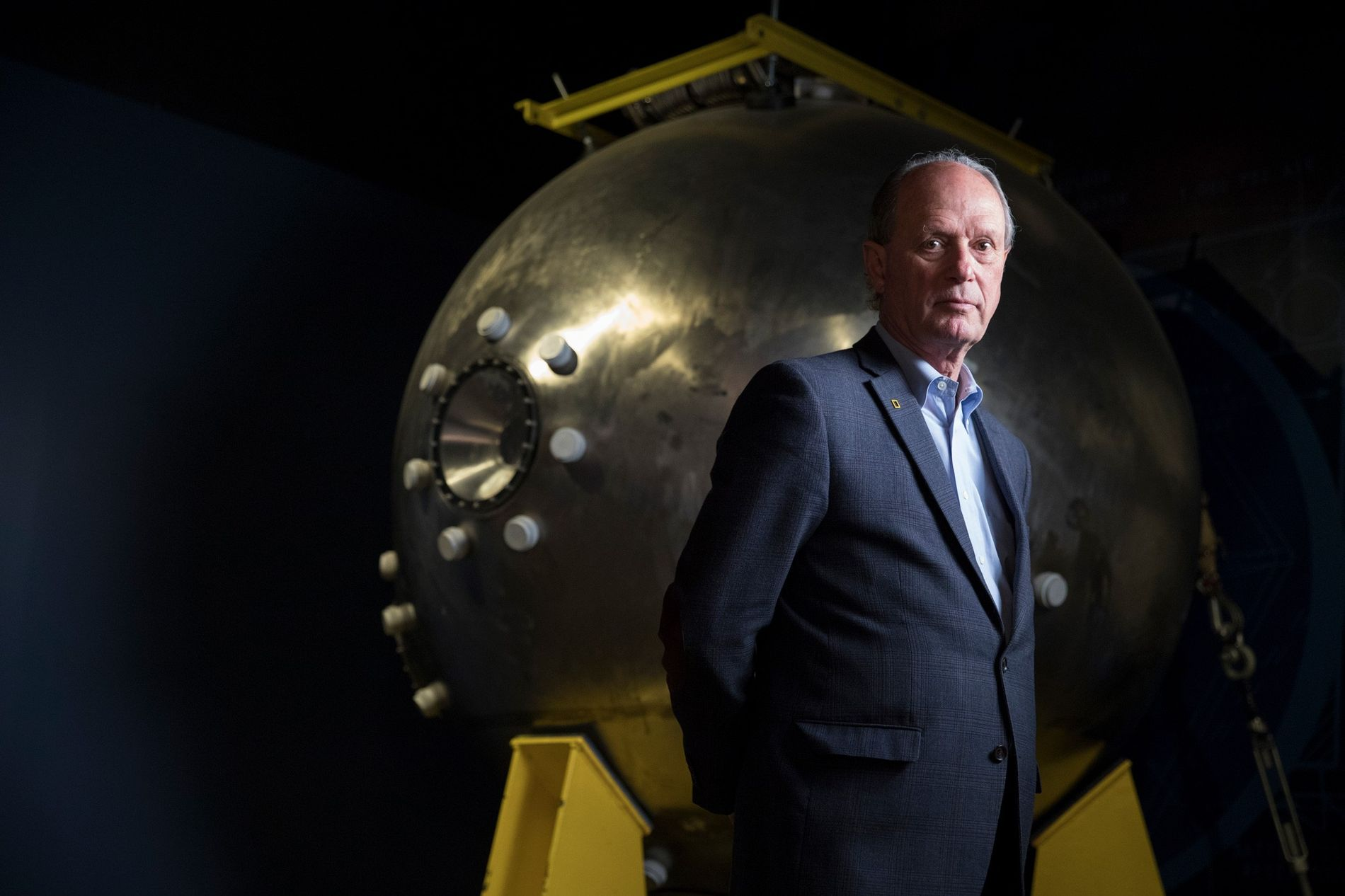 Robert Ballard, discoverer of the Titanic, stands in front of the crew module from Alvin, the ...
