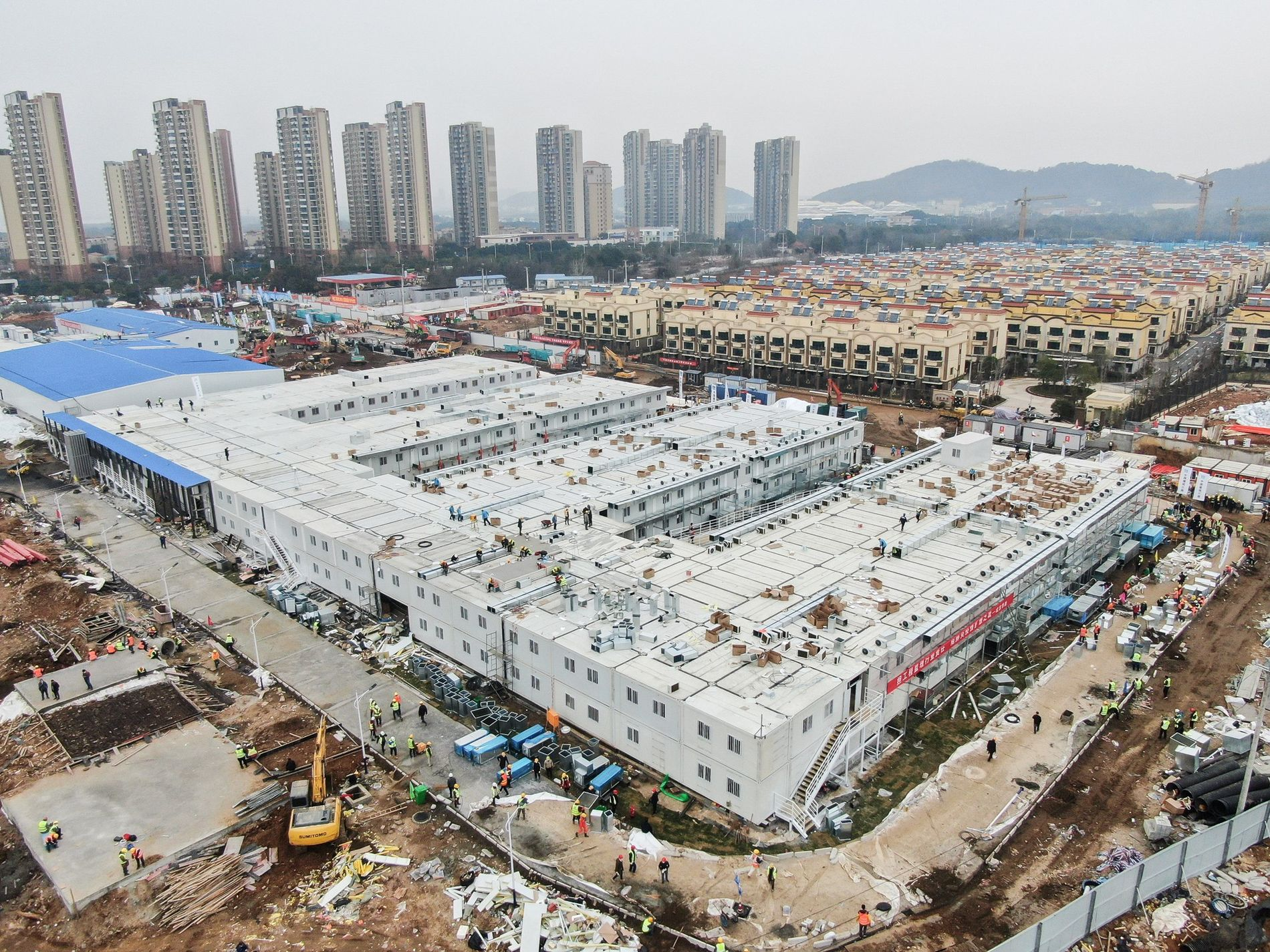 An aerial photo shows the Huoshenshan Hospital in Wuhan, a makeshift hospital built in 10 days ...
