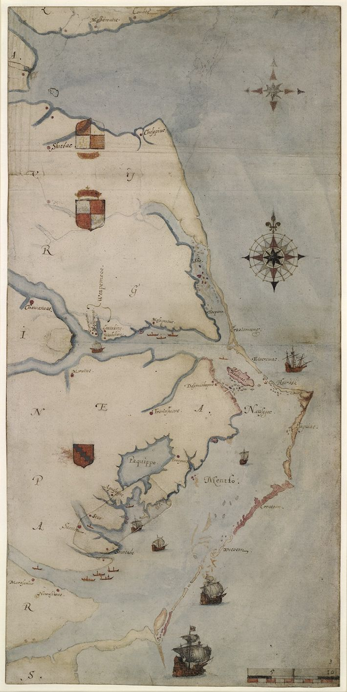 Governor John White's 1585 map of the area from today's Cape Henry, Virginia, to Cape Lookout, ...