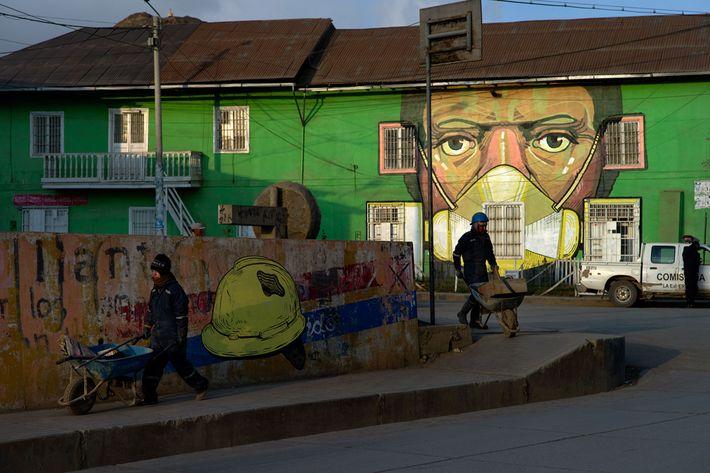 A mural painted on a Cerro de Pasco house by Peruvian artist Daniel Cortez Torres, also ...