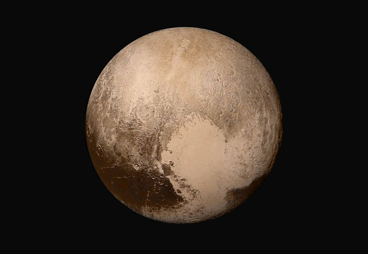 Four high-resolution images from New Horizons are combined with colour data to create a sharper view ...