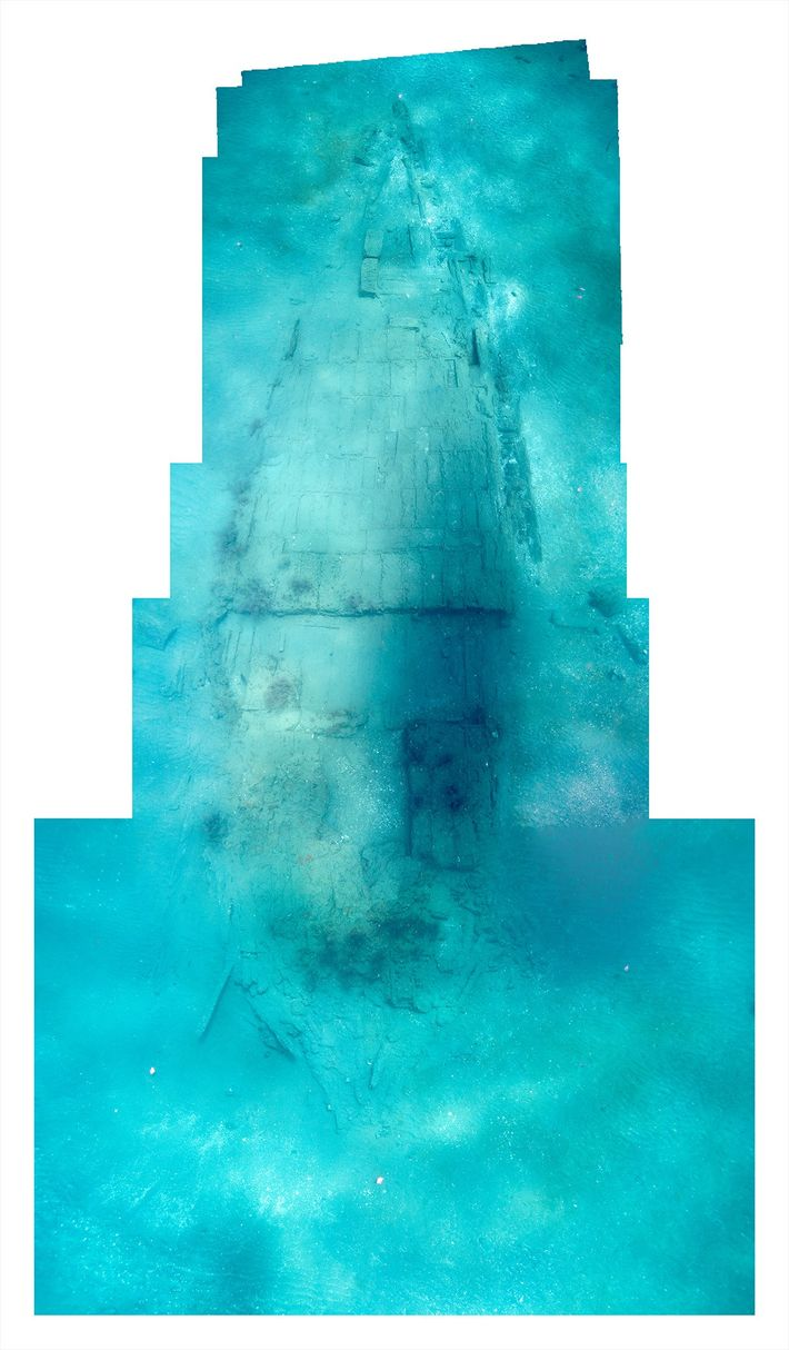 A photo mosaic shows the hull of the Encarnación, lying in 32 feet of water off ...