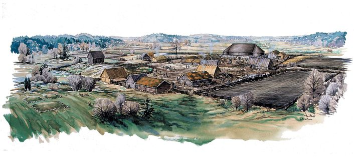 Small houses surround a great hall at a Viking site in Sweden called Sanda. Some archaeologists ...
