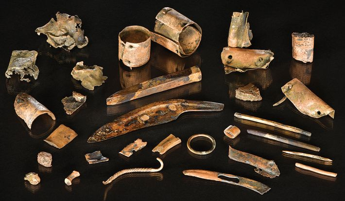 The bronze assemblage included 3,000-year-old tools, ornaments, and metal scraps—likely once stored in a container that ...